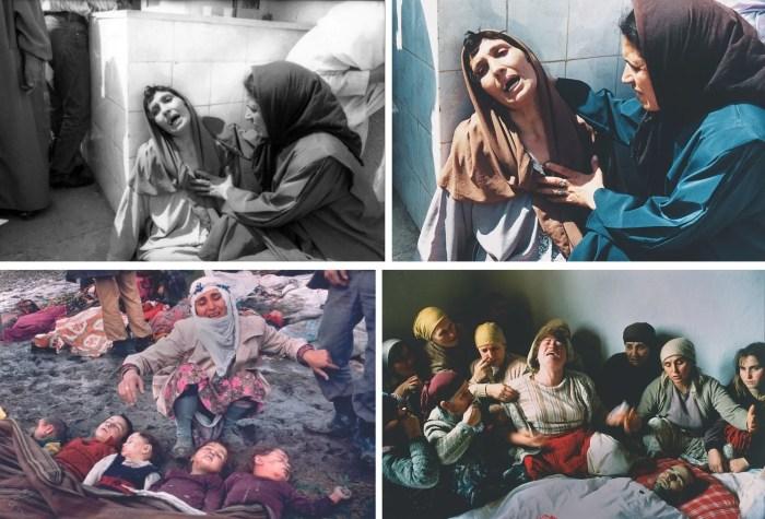2. Hocine Zaourar, massacre à Bentalha, 1997 (AFP), format original/format publié. Mustafa Bozdemir, tremblement de terre en Turquie, 1983 (Hürriyet Gazetesi). Georges Mérillon, deuil au Kosovo, 1990 (Gamma).