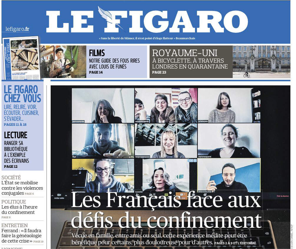 Le Figaro, 01/04/2020 (photo Julien Daniel, Myop).