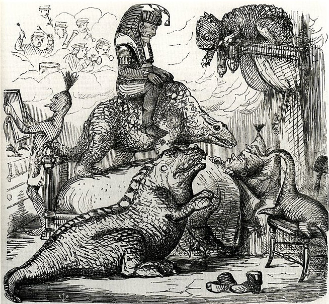 "Punch, ""The Effects of a Hearty Dinner after Visiting the Antediluvian Dept"", 1855."