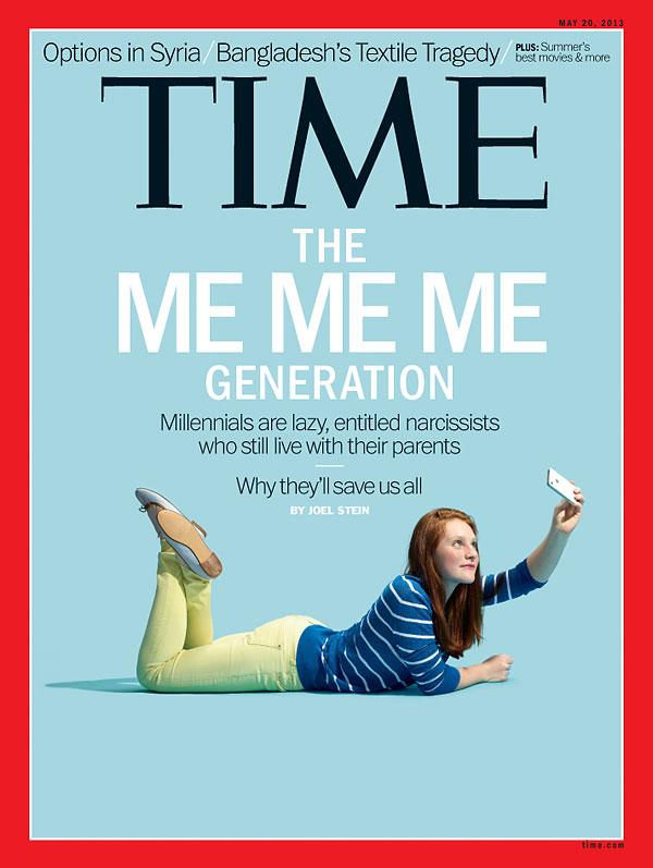 """13. """"The Me Me Me Generation"""", couverture de Time du 20 mai 2013."""