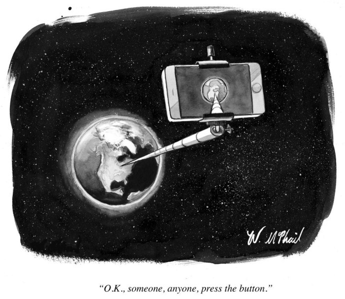 """OK, someone, anyone, press the button"", Will McPhail, New Yorker, 6/04/2015."
