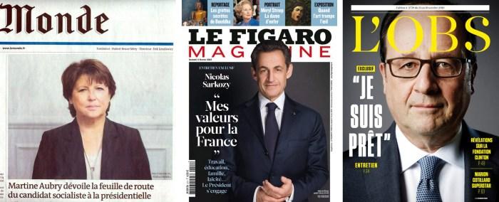 Le Monde, 03/03/2011; Le Figaro Magazine, 11/02/2012; L'Obs, 13/10/2016.