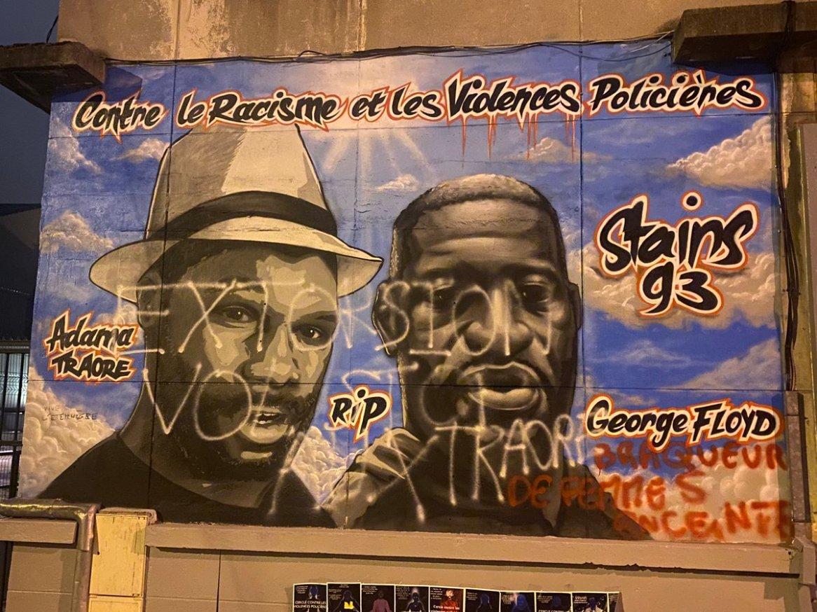 La fresque de Stains vandalisée (photo: Rémy Buisine, 04/07/2020).