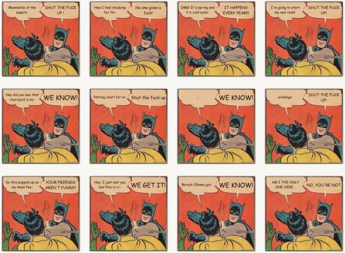 "Appropriations contextuelles de la vignette ""Batman slapping Robin""."