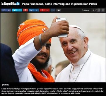 Selfie avec le pape François, Rome, 2015.