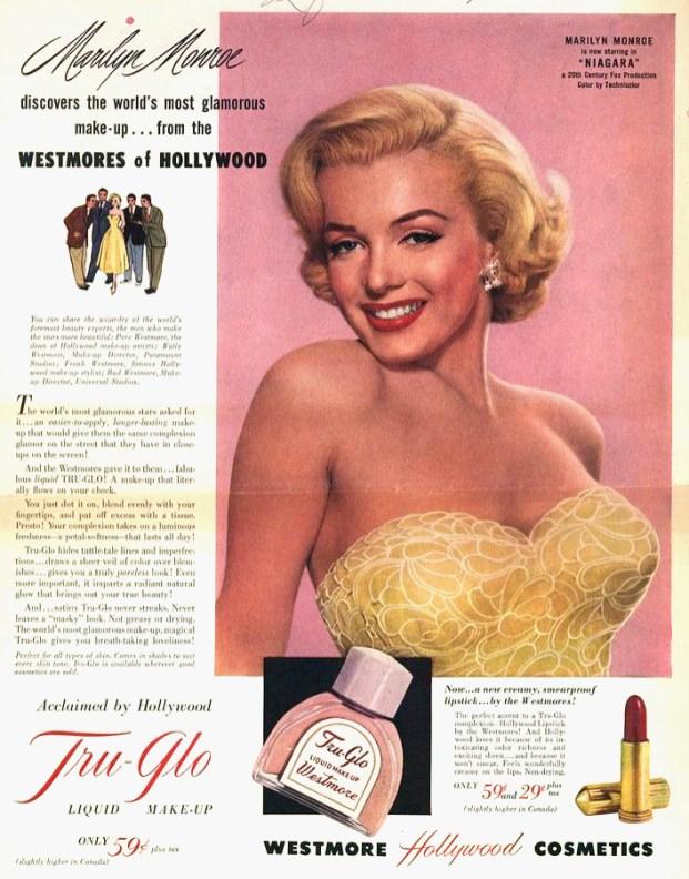 Publicité Westmore Cosmetics, 1953.