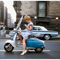 A girl on a scooter, New York City, 1965