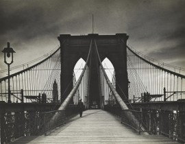 "A handout photo shows a 1938 gelatin silver print taken by Alexander Alland named ""Brooklyn Bridge""."