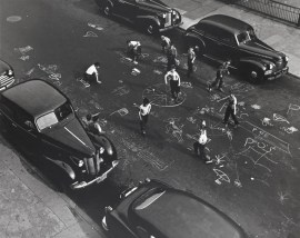 "A handout photo shows a gelatin silver print taken by Arthur Leipzig named ""Chalk Games""."