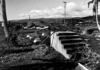 1975-Punaluu-locally generated tsunami. 11-29-75 Damage at Punalu'u, on the Big Island of Hawai'i. (Pacific Tsunami Museum Archives).