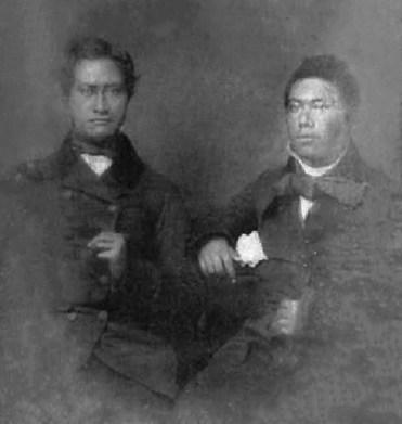 A daguerreotype of a Caesar Kapaakea and his son David Kalakaua-WC