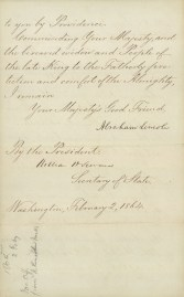 4-Abraham_Lincoln-to-Kamehameha_V-Sorrow_death of IV-Support-February_2,_1864-HSA-4