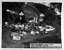 Aerial view from off the port side, 6 November 1943, after the ship had been refloated