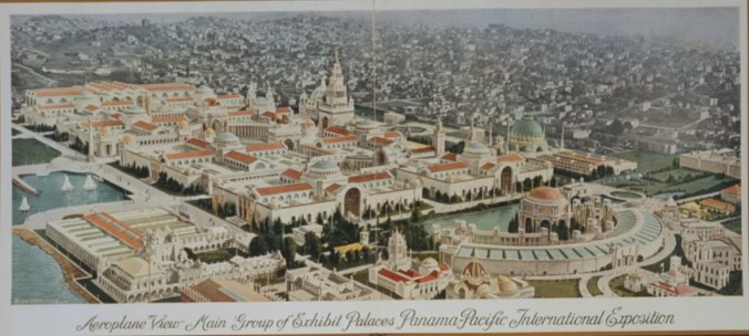 Aeroplane view main group of exhibit palaces Panama-Pacific International Exposition