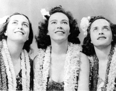 'Aloha Maids'–Jennie Napua Wood, Pualani Mossman, and Mapuana Bishaw-HawaiianRoom-1938