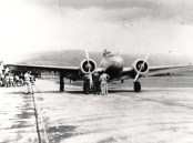 Amelia arrives at Wheeler Field aboard her twin engine Lockheed Electra on 1st leg of her east to west around the world flight 3-18-1937.