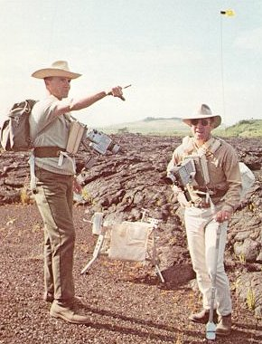 Apollo 13 Astronauts Fred Haise and Jim Lovell observe features of a lava flow during a geology field training trip-(NASA)