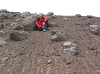 Astrogeologist Dr. Jim Rice studying Mars-like features on Earth-(Courtesy NASA-JPL-Caltech)