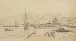 Auguste_Borget_-_'Honolulu_Waterfront',_graphite_on_paper,_1838
