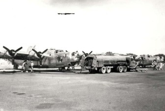 B-24 aircraft at Barking Sands, Kauai, refueling or regrouping prior to Southwest Pacific deployment c1944-45