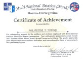 Bosnia-Certificate of Achievement