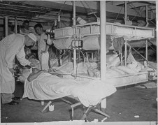 Burned and injured patients aboard USS Solace following the Pearl Harbor attack on 7 December 1941