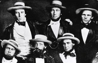 Alexander Cartwright (back row center) and some of the Knickerbockers