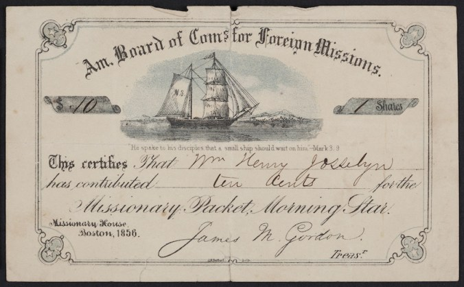 Certificate for the missionary packet, Morning Star