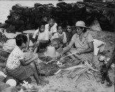 Children watching a weaver strip lauhala-PP-33-6-021-1935