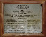 Commemorative Plaque to Amos and Juliette Cooke - listing students they taught at Royal School