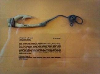 Composite fishhook of bone, fiber and wood-PeabodyMuseum