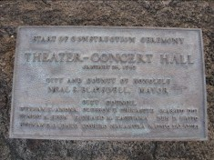 Concert Hall Construction Ceremony plaque-1963
