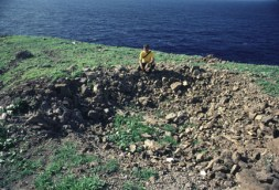 Crater on Kaula Island, Navy bombing target, from a 500 lb bomb.
