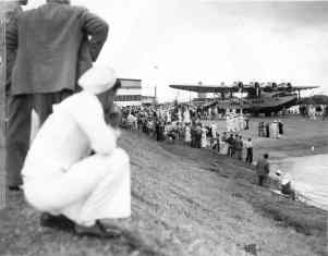 Crowd inspecting the Pan American Clipper, Ford Island, Pearl Harbor, Honolulu-PP-1-7-011-April 20, 1935
