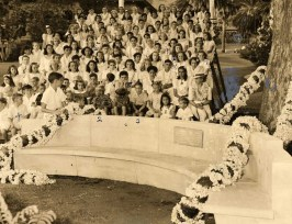 Dedication ceremony for the tamarind tree bench, a gift from the Class of 1941 for the Centennial celebrations-Punahou