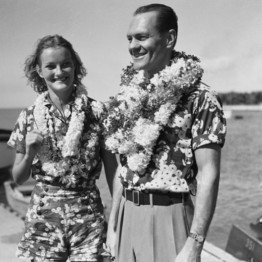 Doris Duke and husband James Cromwell vacationing in Hawaii (wsj-com) 1935