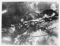 Double row of ships in Pearl Harbor, aerial view, 7 December 1941. Photograph taken by Japanese flyer-12-07-41
