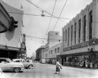 Downtown Honolulu in 1956. McInerny on the left, and the overhead lines are for trolley buses