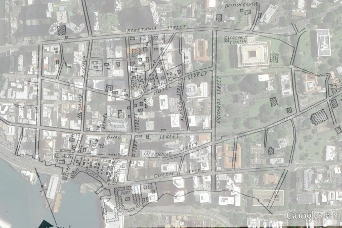Downtown and Vicinity-Street_Names-Map-1843-over Google Earth