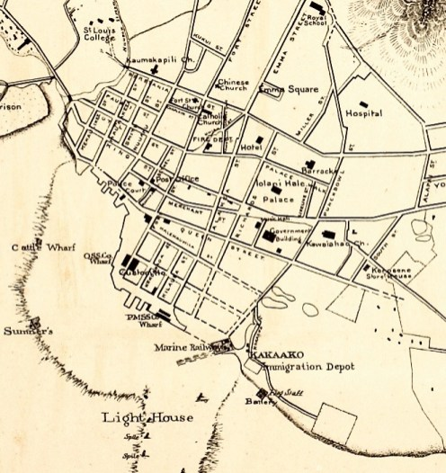 Downtown and Vicinity-UH_Manoa-Hamilton-Map-1887-(portion)