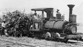Engineer guiding train over temporary tracks-(Smithsonian)