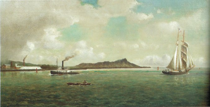 'Entrance_to_Honolulu_Harbor'-William_Alexander_Coulter-1882