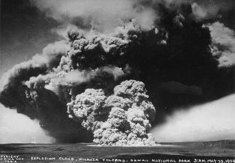 Eruption column from Halemaumau. Photo by Tai Sing Loo at 1500 on May 23, 1924 from near Volcano house or HVO-(USGS)