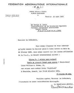 FAI letter congratulating Lieutenant William A Cocke and accepting his duration flight of 21 hrs, 34 mins as a new World Duration Record