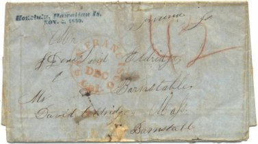 First-day cover of The Polynesian letter bag - postmarked November 2, 1850
