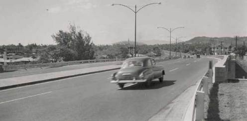 First mile-long segment of the Mauka Arterial, soon after it was opened in November 1953