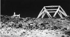 Framework for Reber's antenna, control building to left, Kole Kole on Haleakala, Maui, Hawaii-1952