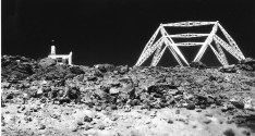 Framework for Reber's antenna, control building to left, Kole Kole on Haleakala, Maui, Hawaii-1952