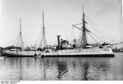 German cruiser SMS Geier of the Imperial German Navy, circa 1894 to 1914