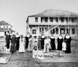 Gibson with the Sisters of St. Francis and daughters of Hansen's disease patients, at the Kakaako Branch Hospital-1886